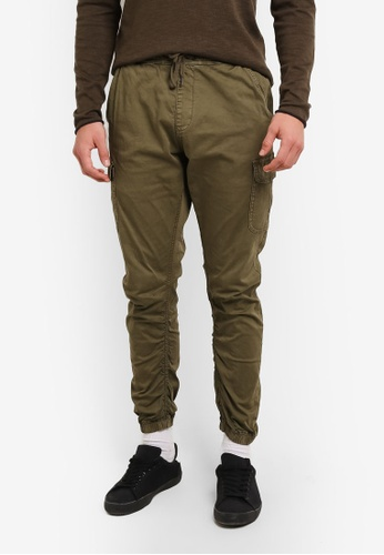 Indicode Jeans green Lakeland Distress Cargo Jogger IN815AA0ROM8MY_1