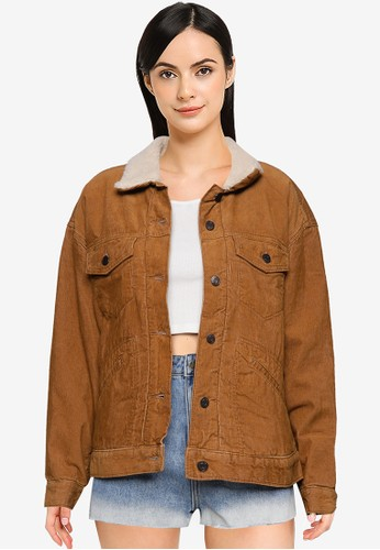 Gap brown Cord Sherpa Oversized Icon Jacket CE920AA21E3511GS_1