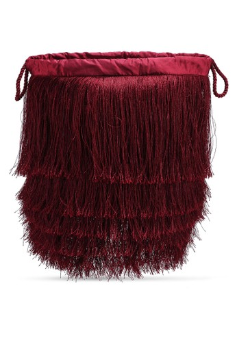 Mango red Satin Fringed Bag 63A4EAC602E84EGS_1