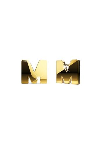 Bullion Gold gold BULLION GOLD Dainty Alphabet Letter Earring Gold Layered Steel Jewellery - M B8BCDACE346A6AGS_1