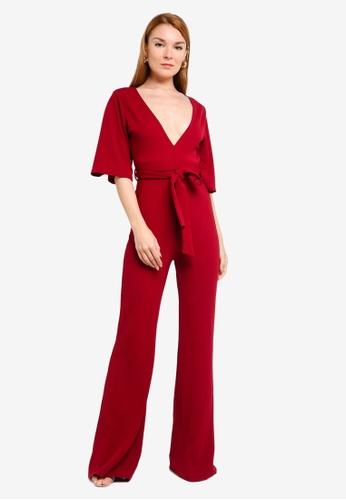 MISSGUIDED 紅色 喇叭袖連身褲 0464FAA76DEB60GS_1