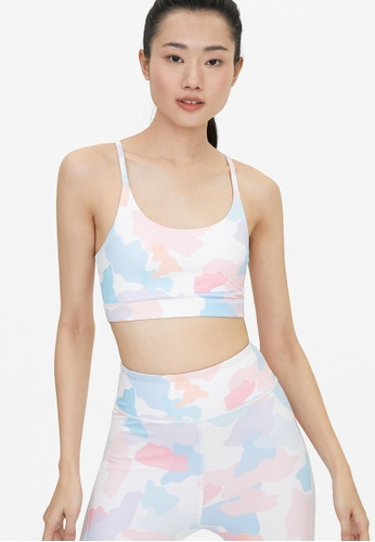 Pomelo pink Camouflage Print Cross Back Sports Bra - Pink 4B61FUSD504F20GS_1