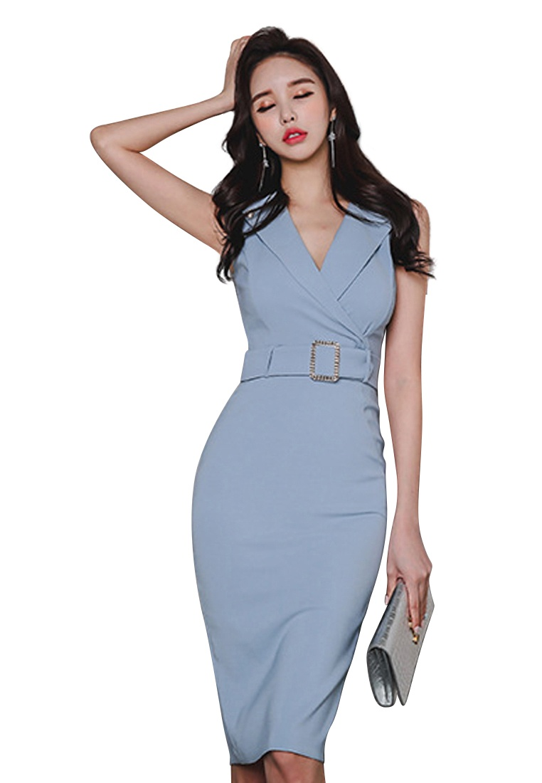 New Sleeveless One Piece Sunnydaysweety Dress Blue 2018 Notched Neckline Blue A051622BL UqxCHHOw