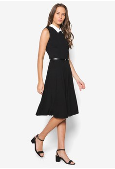 Black Collar Fit & Flare Dress