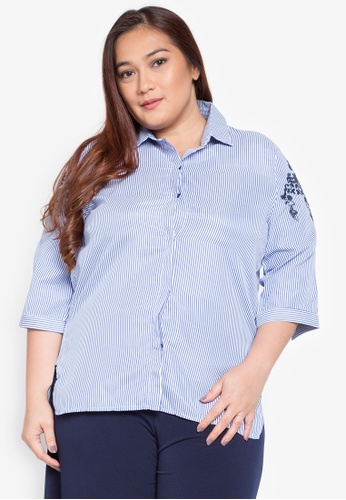 Maldita X navy Kelly Plus Size Embroidered Pinstripe Button-down Shirt MA587AA0KOXFPH_1