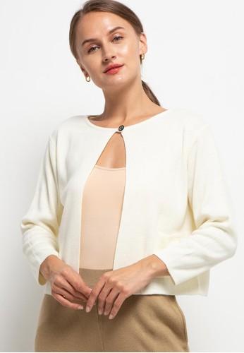 Noir Sur Blanc white Ladies Cropped Cardigan FBAD8AA20AE900GS_1