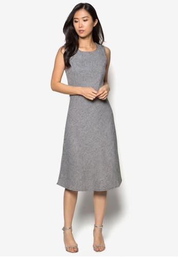 Sally 暗紋無袖連zalora 男鞋 評價身裙, 服飾, 服飾