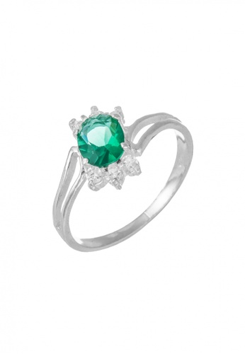 Elfi green and silver Elfi 925 Genuine Silver Engagement Ring M29 - The Love Symphony EL186AC54FERMY_1