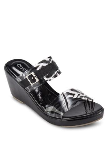 印花寬帶楔形涼鞋, 女鞋zalora taiwan 時尚購物網鞋子, 楔形涼鞋