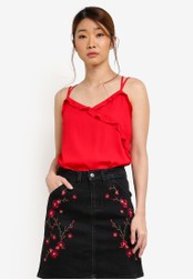 Something Borrowed red Strappy Cami Top With Ruffles A6C83AAFCADCA8GS_1
