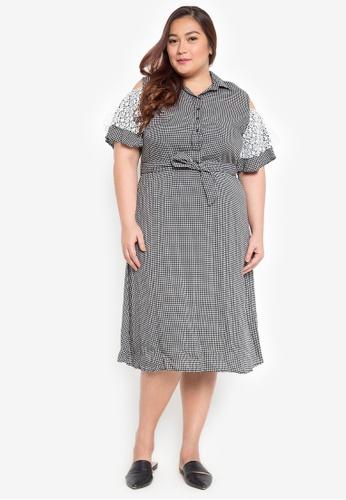 Maxine black Plus Size Cold Shoulder Shirt Dress 3C6D9AA4E2F160GS_1