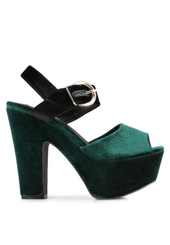 Nose green Color Blocked Velvet Wedge Heel Sandals NO327SH0S6TYMY_1