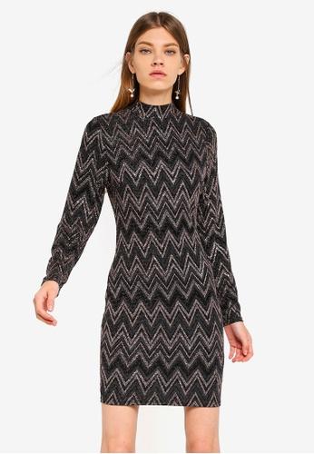 Dorothy Perkins multi Zig Zag Lurex Bodycon Dress 32131AA802DD1DGS_1
