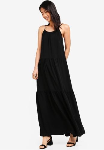 ZALORA BASICS black Basic A-Line Pleated Maxi Dress 27CBBAA374E8D8GS_1