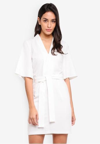 Miss Selfridge beige Tie Kimono Sleeve Dress Ivory DD4EEAA4060F56GS_1