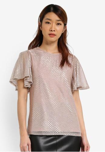 Dorothy Perkins silver Glitter Angel Sleeve Top DO816AA0SJ5LMY_1