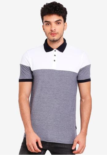 Burton Menswear London navy Navy Two-Tone Cut And Sew Polo Shirt 5E67BAAB710160GS_1