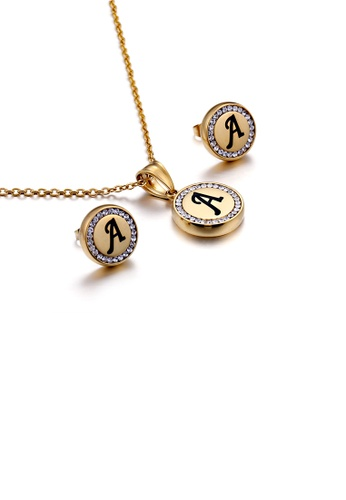 Glamorousky white Fashion and Simple Plated Gold English Alphabet A Geometric Round Cubic Zirconia with 316L Stainless Steel Necklace and Stud Earrings Set 15062ACF5462A7GS_1