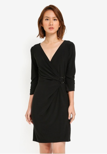 Wallis black Petite Black Ring Wrap Dress WA800AA0SITHMY_1
