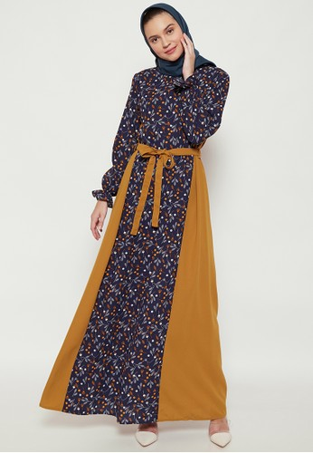 SUQMA navy and brown Klarisa Dress 9B793AA1EE145DGS_1
