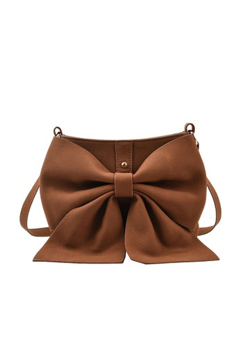 Lara brown Women's Bowknot Decorated Leather Magnetic Buckle Cross-body Bag - Brown BBF2FAC5FD32B4GS_1