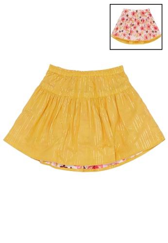 Du Pareil Au Même (DPAM) white and yellow Reversible Print Skirt B504CKA386CEE0GS_1