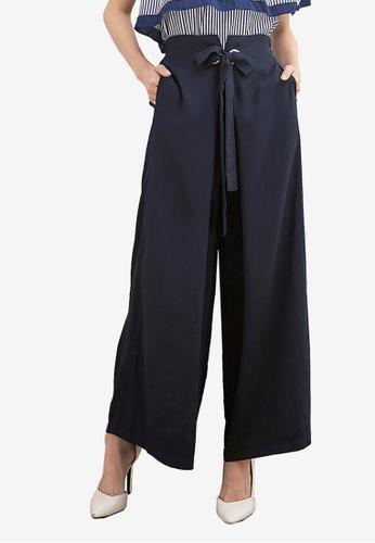 Kodz navy O Ring Self-Tie Wide-Leg Pants 703ACAA6BD4DAEGS_1