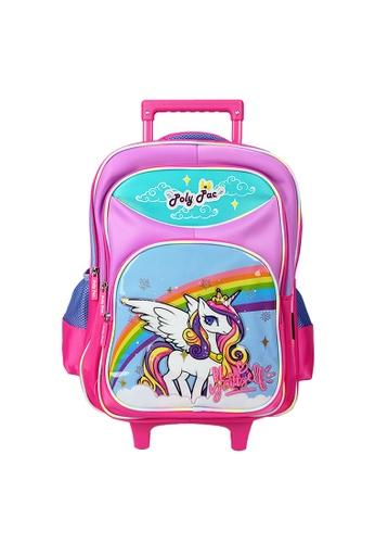 Poly-Pac purple Poly-Pac PS2039R 16 inch Unicorn Detachable LED Roller Trolley School Bag 9BC8EKCA481232GS_1