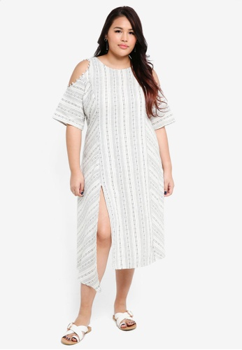 ELVI white Plus Size Masago Cutout Shoulder Stripe Dress 1DCB3AA254C9CDGS_1