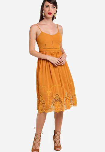 ZALORA orange Premium Embroidered Hem Fit And Flare Dress 48C0BAA5A132D9GS_1