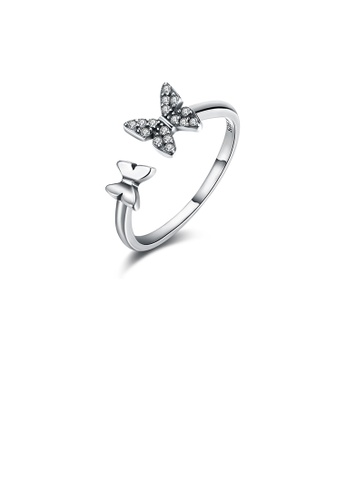 Glamorousky white 925 Sterling Silver Vintage Butterfly Cubic Zircon Adjustable Ring 24383ACF641125GS_1