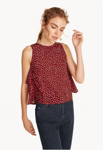 Pomelo red Polka Dot Ruffle Tank - Red 0A7EBAA7C3DD90GS_1