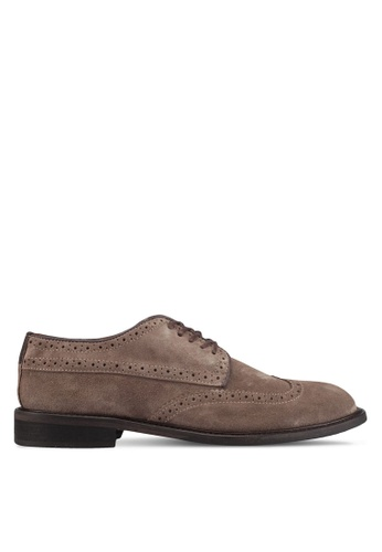 Selected Homme brown Shdbaxter Brogue Suede Shoe 5BCF5SHB07B3A9GS_1