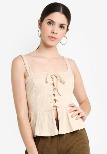 Glamorous beige Sleeveless Ribbed Top 61911AA0ADD51AGS_1
