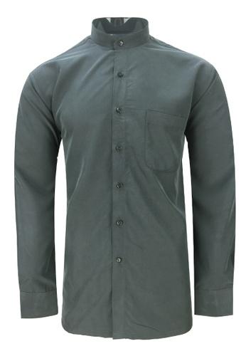 Pacolino grey Pacolino - Mandarin Collar Striped Formal Casual Long Sleeve Men Shirt 1F5B0AAF4053B3GS_1