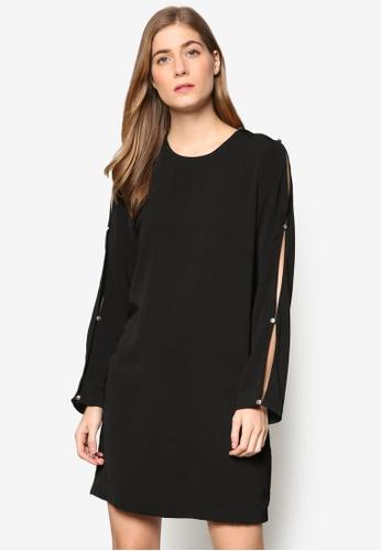 WAREHOUSE black Diamante Button Sleeve Dress WA653AA48YMXMY_1