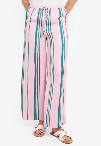 TOPSHOP pink Striped Wide Leg Trousers 58141AA43F5EABGS_1