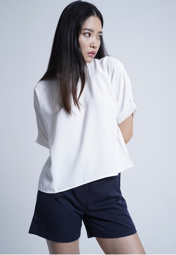 SUB white Women Rolled Collared Blouse 2F61BAA81F2620GS_1