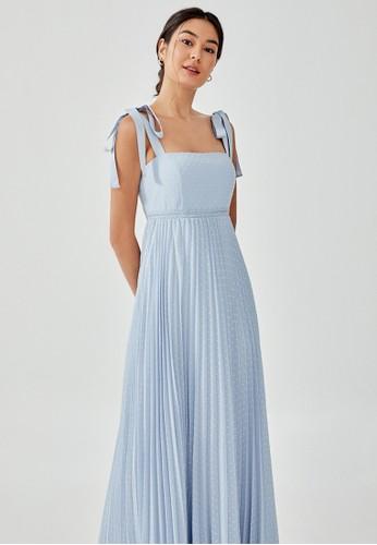 Love, Bonito blue Davona Textured Tie Shoulder Maxi Dress B1BDAAA7E40BF7GS_1