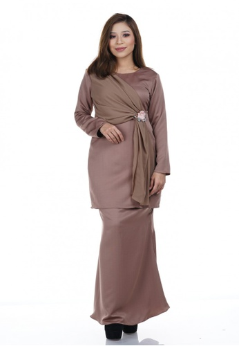 Maya Kurung from NOVEMBERMATE in Gold and Brown and Beige