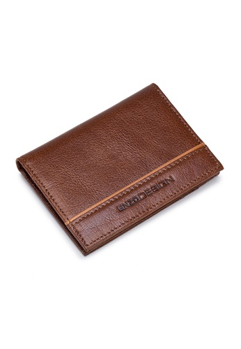 ENZODESIGN Leather Slim Bifold Card Holder (With Hidden Side Pockets)C18C-CF