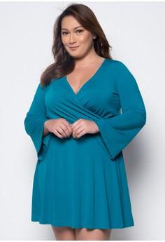 Plus Size Quarter Sleeves Wrap Dress
