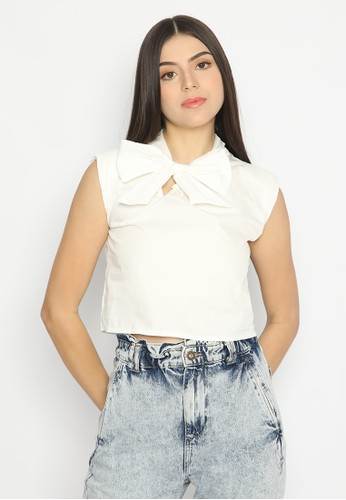 Mannequin white Ribbon Crop Top F9E18AAB67CA0AGS_1