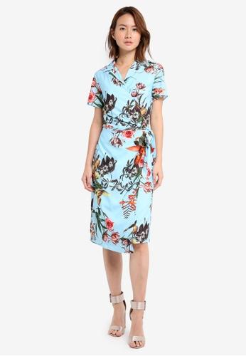 ZALORA blue Studio Short Sleeve Wrap Dress D456AAABB0EE0CGS_1