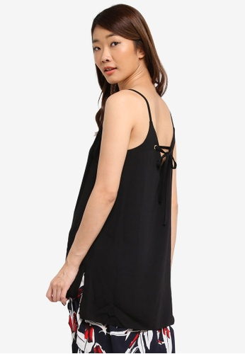 Dorothy Perkins black Black Eyelet Longline Camisole Top 2A3F7AA5742092GS_1