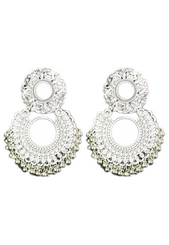 Zaryluq silver Mirrored Tassel Earrings 55FC5AC53BA463GS_1
