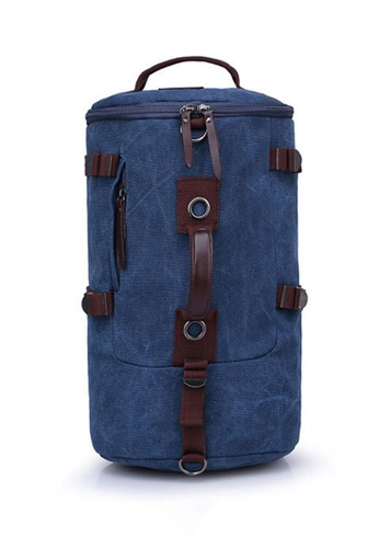 Jackbox blue XBD Cylinder Canvas Bag Shoulder Messenger Sling Handbag Backpack (Blue) JA762AC38SNPMY_1