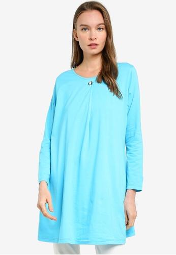 Aqeela Muslimah Wear blue Button Box Pleat Top 84BCDAAFB296ECGS_1