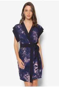 Print Kimono Sleeve Wrap Dress