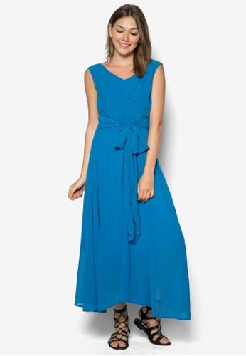 褶飾繫帶長洋裝, zalora時尚購物網的koumi koumi服飾, 服飾